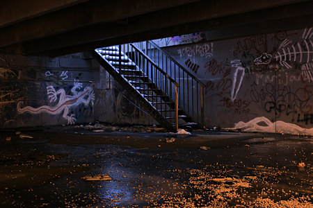 Stairway and graffiti (color)