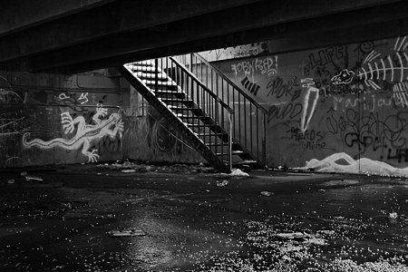 Stairway and graffiti